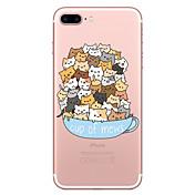 Caso para el iphone de la manzana 7 7 más el patrón del gato de la cubierta del caso pintó la alta caja suave material del teléfono de la