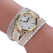 Mujer Reloj de Moda Reloj Pulsera Simulado Diamante Reloj Chino Cuarzo La imitación de diamante PU Banda Casual Elegant Negro Blanco Azul