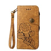 Etui Til Samsung Galaxy S8 Plus S8 Kortholder Flipp Inngravert Heldekkende etui Blomsternål i krystall Hard PU Leather til S8 Plus S8 S7