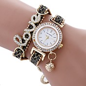 Mujer Cuarzo Reloj Pulsera Chino Resistente al Agua Piel PU Banda Encanto Destello Creativo Casual Reloj de diamantes simulado Reloj