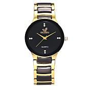 Hombre Mujer Reloj de Moda Simulado Diamante Reloj Chino Cuarzo Aleación Banda Casual Negro