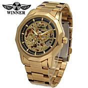 WINNER Hombre Cuerda Automática El reloj mecánico / Reloj de Pulsera Huecograbado Acero Inoxidable Banda Vintage / Casual Plata / Dorado