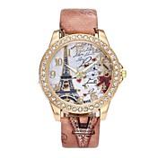 Mujer Reloj de Vestir Reloj de Pulsera Simulado Diamante Reloj Chino Cuarzo La imitación de diamante PU Banda Lujo Flor Vintage Casual