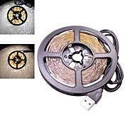 30w 5 metros usb llevó la luz de tira flexible dc 5v 2835 smd 60 leds / metro fondo de la televisión de iluminación cálido / blanco frío