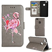 Etui Til Huawei P8 Lite P8 Lite (2017) P10 Lite Kortholder Lommebok med stativ Flipp Heldekkende etui Flamingo Hard PU Leather til P10