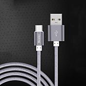 USB 2.0 Type-C USB-kabeladapter Ladingskabel Fletted ladingskabel Data og synkronisering Ledning Flettet Kabel Til Samsung Huawei Xiaomi