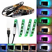 1m RGB-lysstriper 60 LED 5050 SMD 1M LED Strip Light / 17-nøkkel fjernkontroll RGB TV Bakgrunnslampe <5 V 1pc / IP65