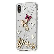 Funda Para Apple iPhone X iPhone 8 Plus Diamantes Sintéticos Diseños Funda de Cuerpo Entero Flor Dura Cuero de PU para iPhone X iPhone 8