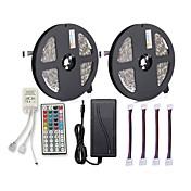 ZDM® 300 LED 2x 5M LED Strip Light 1 12V 6A adapter 1 44Kjør fjernkontrollen 4 kontakter RGB Kuttbar Selvklebende AC100-240
