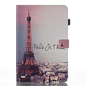 Etui Til Samsung Galaxy Tab A 10.1 (2016) Lommebok med stativ Flipp Mønster Auto Sove/Våkne Heldekkende etui Eiffeltårnet Hard PU Leather
