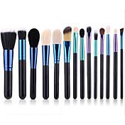 14pcs Suministros de kit de maquillaje permanente Pincel de Pelo de Cabra Ecológica Profesional Suave Madera Rostro Nariz