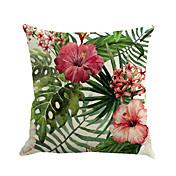 1 PC Algodón / Lino Cobertor de Cojín / Almohada innovadora / Funda de almohada, Floral / Novedad / Moda Flor / Tropical