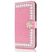 Etui Til Samsung Galaxy S9 S9 Plus Kortholder Lommebok Rhinstein med stativ Flipp Magnetisk Heldekkende etui Blomsternål i krystall