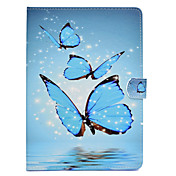 Etui Til Samsung Galaxy Tab E 9.6 / Tab A 9.7 / Tab A 10.1 (2016) Kortholder / Støtsikker / med stativ Heldekkende etui Sommerfugl Hard PU Leather til Tab E 9.6 / Tab A 9.7 / Tab A 10.1 (2016)
