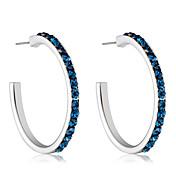 Mujer Zirconia Cúbica Zirconio / Plateado Pendients de aro - Formal / Elegant / Moda Azul Oscuro Forma de Círculo Aretes Para Fiesta /