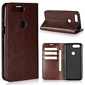 Etui Til OnePlus OnePlus 5T 5 Kortholder Lommebok Støtsikker med stativ Flipp Heldekkende etui Helfarge Hard ekte lær til One Plus 5