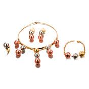 Mujer Chapado en Oro Conjunto de joyas 1 Collar / 1 Brazalete / 1 Anillo - Importante / Moda Forma de Círculo Dorado Juego de Joyas Para