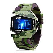 SKMEI Hombre Reloj Deportivo / Reloj Militar / Reloj digital Despertador / Calendario / Cronógrafo Silicona Banda Jade / Resistente al Agua / LCD