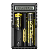 UM20 Batterilader Smart Bærbar USB LCD til Li-ion 18650, 18490, 18350, 17670, 17500, 16340(RCR123), 14500, 10440