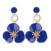 Mujer Flor Pendientes colgantes / Pendients de aro - Floral / Moda / Europeo Azul / Rosa / Rojo oscuro Forma Geométrica Aretes Para