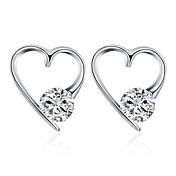 Mujer Zirconia Cúbica Clásico / Elegante Pendientes cortos - S925 Sterling Silver Corazón, Sueño Elegante, Simple Plata Para Boda / Diario