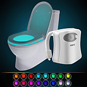 hkv® 16-farget trådløst menneskelig infrarød aktivert bevegelsessensor pir ledet toalettlampe batteridrevne nattlys hjemme bad