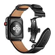 Ver Banda para Apple Watch Series 4/3/2/1 Apple Hebilla de la mariposa Cuero Auténtico Correa de Muñeca