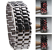 Black Metal Strip Digital Lava Style Iron Sport Womens Red LED Faceless Wrist Watch Cool Watches Unique Watches Fashion Watch Strap Watch