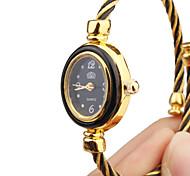 Mujer Reloj de Moda Reloj Pulsera Cuarzo Metal Banda Brazalete Negro Dorado