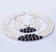 Комплект ювелирных изделий, с пресноводным жемчугом, ожерелье, браслет и серьги