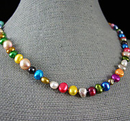 cheap -Pearl Sterling Silver Pearl Necklace  -  Single Strand Pink Rainbow Necklace For Party Anniversary Gift