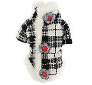 Dog Coat Dog Clothes Classic Keep Warm Plaid/Check Black/White Costume For Pets