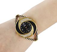 Damen Modeuhr Armband-Uhr Quartz Legierung Band Glanz Armreif Schwarz Weiß Blau Rot Rosa Lila