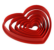 Fondant Cake DIY Decorating Red Heart Shaped Cookie Biscuit Cutter Mold (6-Pack) JG0053