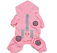 Dog Rain Coat Dog Clothes Waterproof Solid Pink Costume For Pets
