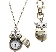 cheap -Women's Quartz Necklace Watch Keychain Watch Pocket Watch Owl Style Alloy Band Owl Fashion Bronze