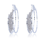 cheap -Women's Hoop Earrings Crystal Silver Plated Jewelry Party Daily Casual Costume Jewelry