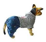 Cane Tuta Abbigliamento per cani Cotone Inverno Primavera/Autunno Casual Rigato Rosso Blu Costume Per animali domestici
