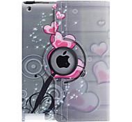cheap -Case For iPad 4/3/2 with Stand 360° Rotation Full Body Cases Heart PU Leather for iPad 4/3/2