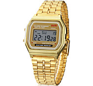cheap -Men's Digital Digital Watch Wrist Watch Alarm Calendar / date / day Chronograph LCD Alloy Band Charm Gold