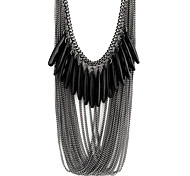 cheap -Women's Layered Statement Necklace - Resin Drop Fashion, Multi Layer Black Necklace For Party