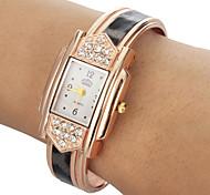 Women's Diamante Rectangle Dial Leopard Grain Band Quartz Analog Bracelet Watch Cool Watches Unique Watches