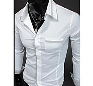 Недорогие -Муж. Официальные Офис Рубашка Однотонный Длинный рукав Хлопок Полиэстер