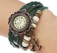 Women's Bracelet Watch Casual Watch Wood Watch Quartz Band Flower Bohemian Black Blue Red Orange Brown Green