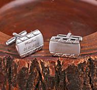 Недорогие -Персональный подарок Кривая серебристого металла с гравировкой запонки