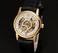 Недорогие -Мужская Автоматический белый циферблат черный PU Кожаный ремешок Gold Hollow наручные часы