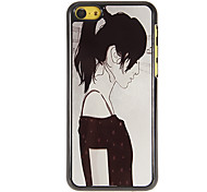 Simple Girls' Sketch Pattern PC Hard Case with 3 Packed HD Screen Protectors for iPhone 5C