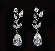 Glamorous Platinum Plated With Zircon Women's Drop Earrings Elegant Style