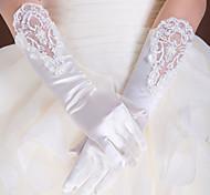 Недорогие -Кружева Сатин До локтя Перчатка Свадебные перчатки Вечерние перчатки