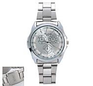 Personalisierte Geschenke neuen Art-Männer weißes Zifferblatt Edelstahlband Vertraglich  Analog-Uhr mit eingraviertem